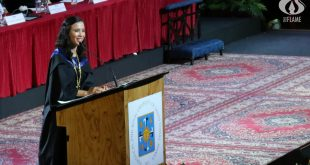 Batch valedictorian Fermina Vergara delivers her commencement speech. photo by KRISTELA DANIELLE S. BOO