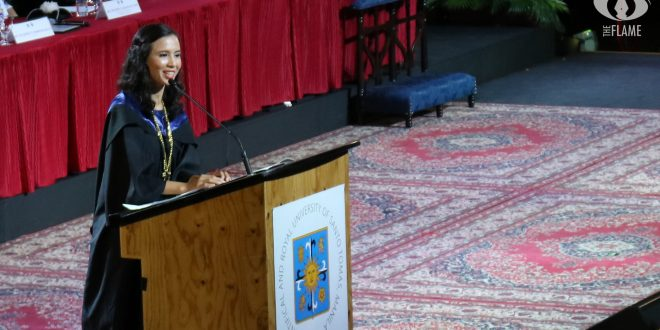 Batch valedictorian Fermina Vergara delivers her commencement speech. photo by KRISTELA DANIELLE S. BOO