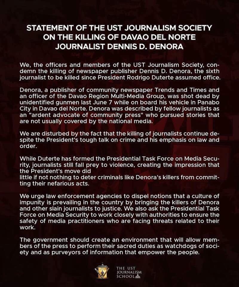 JournSoc condemns killing of Davao journo