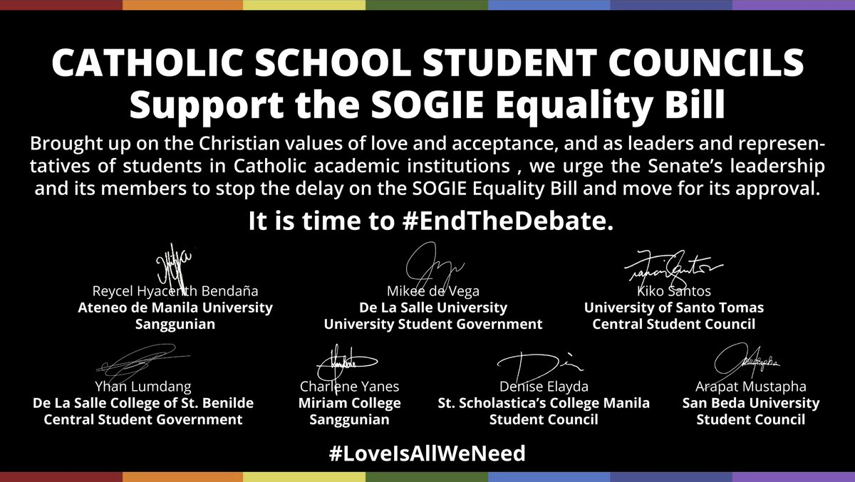 CSC, 6 other Catholic school student councils express support for SOGIE Bill