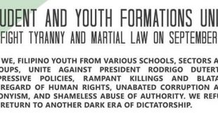 ABSC prexy signs statement urging youth to unite on martial law anniv