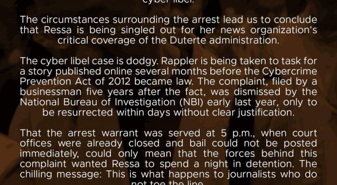 JournSoc condemns Rappler chief's arrest