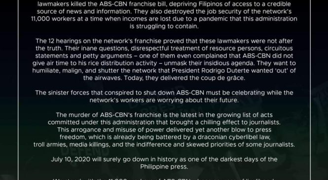 Journsoc condemns ABS-CBN franchise denial